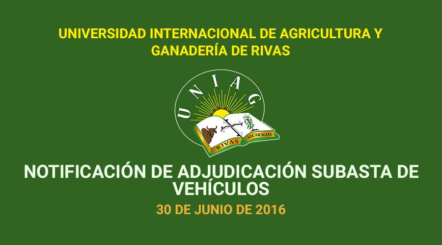 Notificación de adjudicación de vehículos subastados